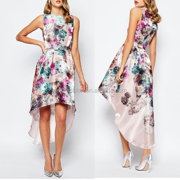 Latest Design High-to-low Cut Hem Sleeveless Big Floral Printed Fashion Prom Dress