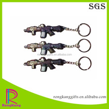 customized weapoon 2d rubber soft pvc keychain gun pvc keyring