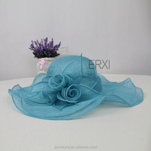 2015 New Style Women Wide Brim Flower Sinamay Hat In Different Color