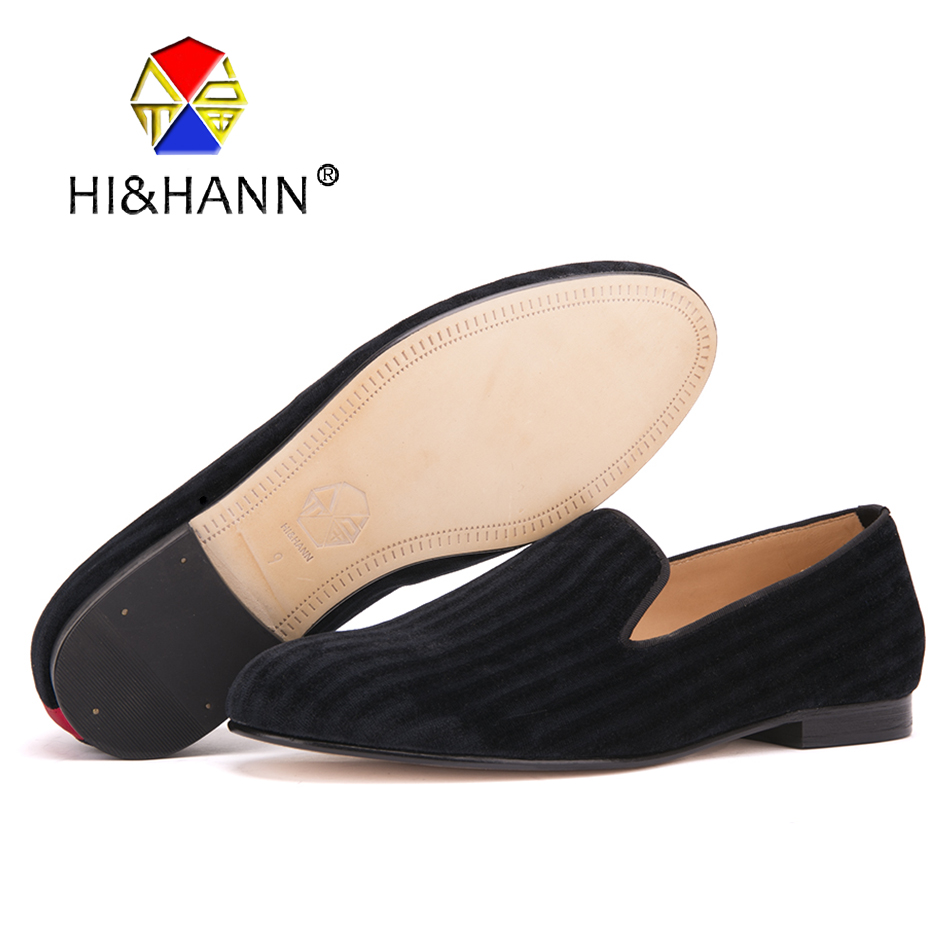HI&amp;HANN Male Black Gingham Velvet Loafers Fashion <strong>Show</strong> And Party Men Dress Shoes Leather Insole And Outsole