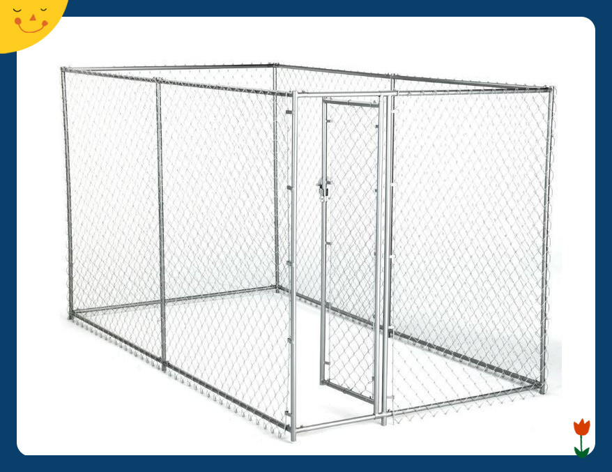 Chain Link Dog Kennel Outdoor Pen Run Galvanized Fence Backyard Large Pet Cage