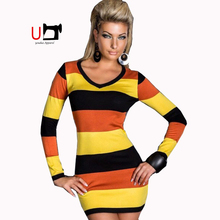 Autumn Round Neck Long Sleeve Striped Bodycon Pencil Ladies Dresses Cheap Wholesale