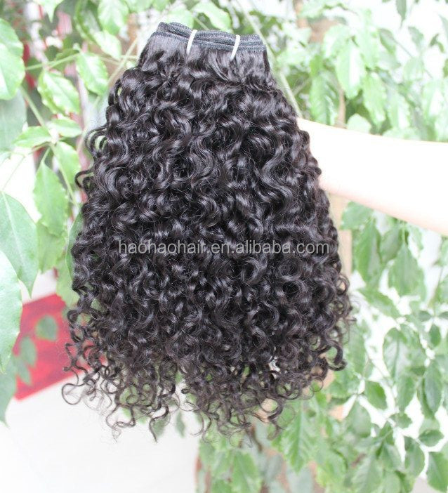<strong>Thick</strong> and full kinky curly human hair machine made double wefts single donor virgin hair