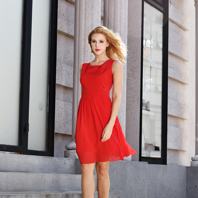 Casual Women 2014 Brand Clothing Fashion Red Sleeveless Round Neck Dress