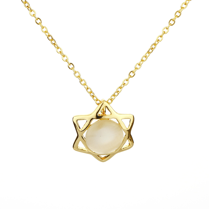 CS00633 JN wholesale online shop china fashion jewelry women lucky star necklace chain men cat eye stone necklace pendant