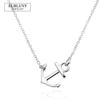 ELBLUVF Alloy Handmade Sideways Anchor Chain Necklace Hope Jewelry For Women