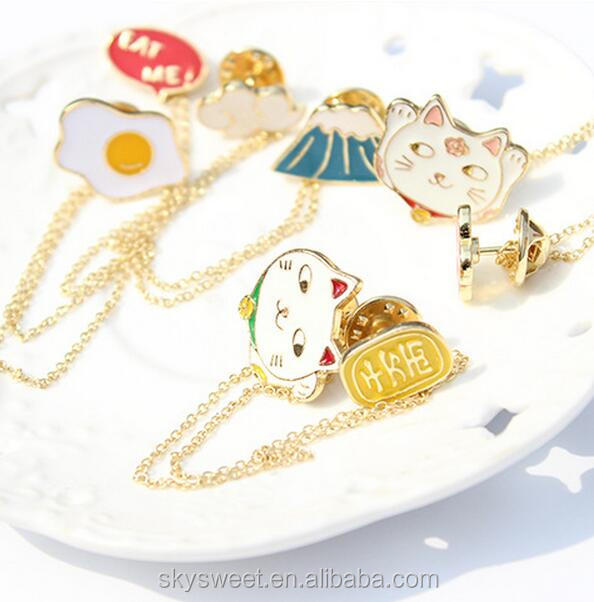 Rich cat and flower enamel brooches and pins,gold chain brooches lady dress accessories(PR887)