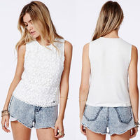 2014 women clothing fashion blouses for ladies sleeveless tunics crochet lace top