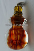 Murano blown Glass Amber honeycomb Ball perfume bottle charms wholesale