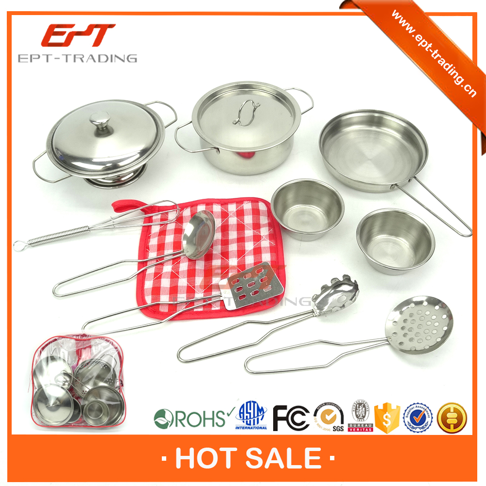 Crazy selling kid mini stainless steel kitchen set toy with top quality