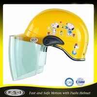 Yellow mini cartoon open face kids motorcycle helmets