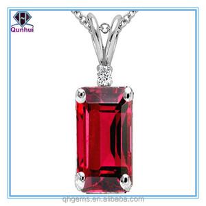 Emerald Cut Lab created Ruby Pendant
