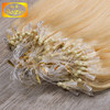 Hot sales double drawn blonde color straight brazilian micro ring loop hair extensions