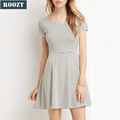 Latest Design Knitted Stripe Mini Dress Summer Casual Dresses for Lady