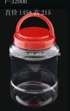 3200ml Clear Plastic PET Food Tub with Handle Lid,food grade plastic tub,food packaging tub