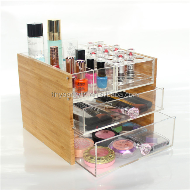 Custom New Product Large Cosmetic Nail Polish Organizer,Bamboo Combine Clear Acrylic Cosmetic Drawer Organizer For Vanity Table