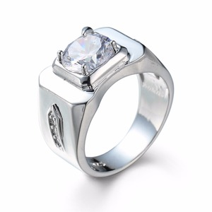 Top Men's White Gold Plated Round Cubic Zirconia Crystal Ring Diamond 925 Silver Plated Wedding Ring