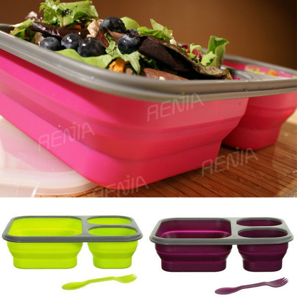 food grade silicon colapsable lunch cube container set with silicone lid for collapsible silicone container