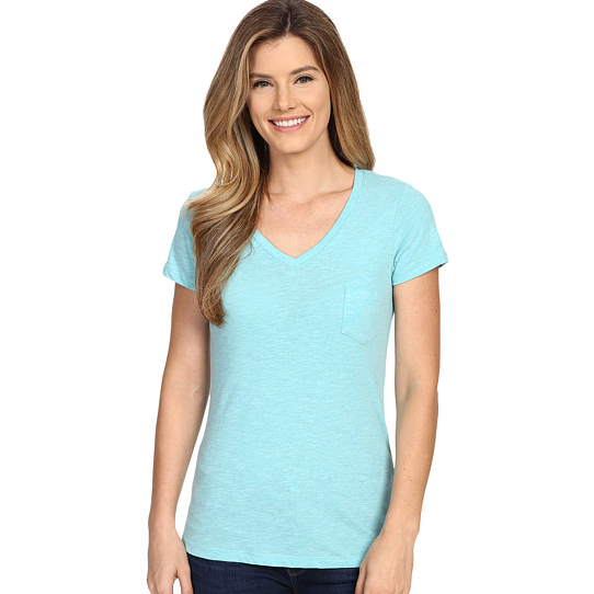 women v neck green blank t shirts in bulk with pocket