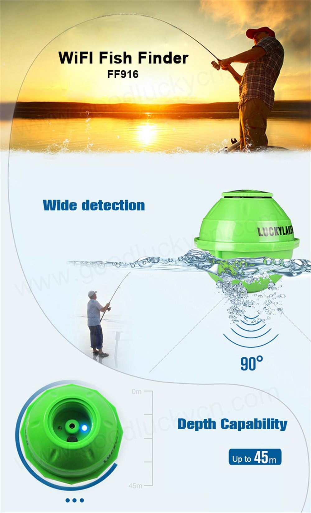 Wireless 50M WIFI Sonar Fish Finder 130 FEET (45 Meters) Rechargeable Lithuim Battery IPHONE IPAD IOS Android Fish Finder FF916