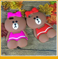 Cute Cartoon 3D Brown bear sister Phone case For iPhone 6 6S 6 Plus 5C 5 5S SE 5C Little bear Soft silicon Back cover