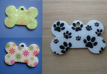 innovative pet products printing flower dog tag, metal stainless steel pet id tag for pet collar