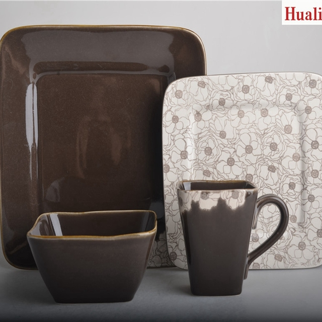 16pcs square brown complicated flower dinnerware & 16pcs square dinnerware brown_Yuanwenjun.com