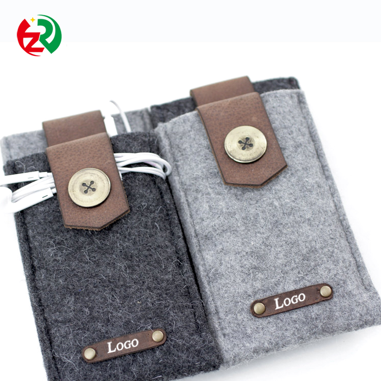 Cheap custom leather cell phone bag luxury felt mobile phone case with leather logo