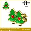 Gold Plated Surgical steel Red Heart Enamel Christmas Trees Stud Earrings