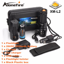 ALONEFIRE X800 CREE XM-L2 LED 2200LM Zoomable tactical Flashlights torch +26650 Battery USB charge