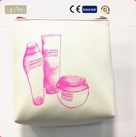 PU white simple fashionable promotional cosmetic bag