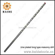 Long Type concrete Drill Bits, Milled, Zine Plated