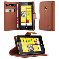 Book Wallet Lichee Phone Case Cover With Card Slots For Nokia Microsoft Lumia 520
