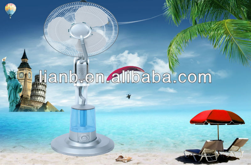 2013 the new arrival 16''inch PP blade&100%copper motor & Low noise &Strong wind mist humidifier Fan with LED indicator light