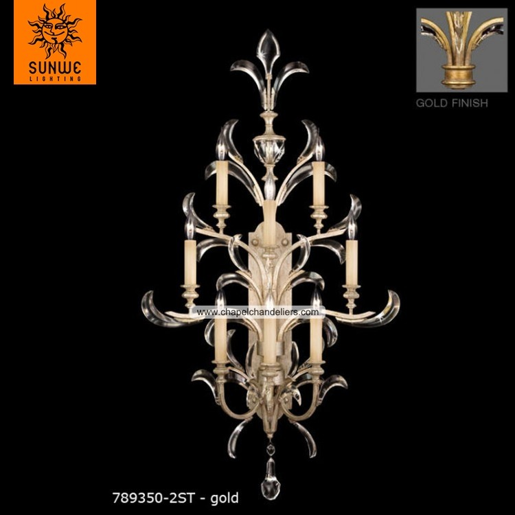 Luxury 8 lights Metal Crystal large wall sconces in Warm muted gold leaf finish