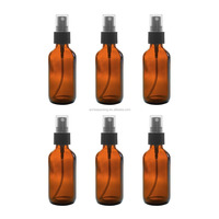 2 oz Amber Boston Round Glass Bottle Essential Oil/Perfume Spray Bottle with Black Fine Mist Sprayer Dispenser