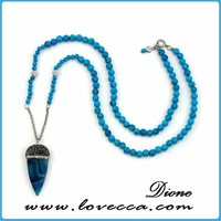 Artificial Unique blue diamonds pendant necklace tassel tibetan natural stone jewelry