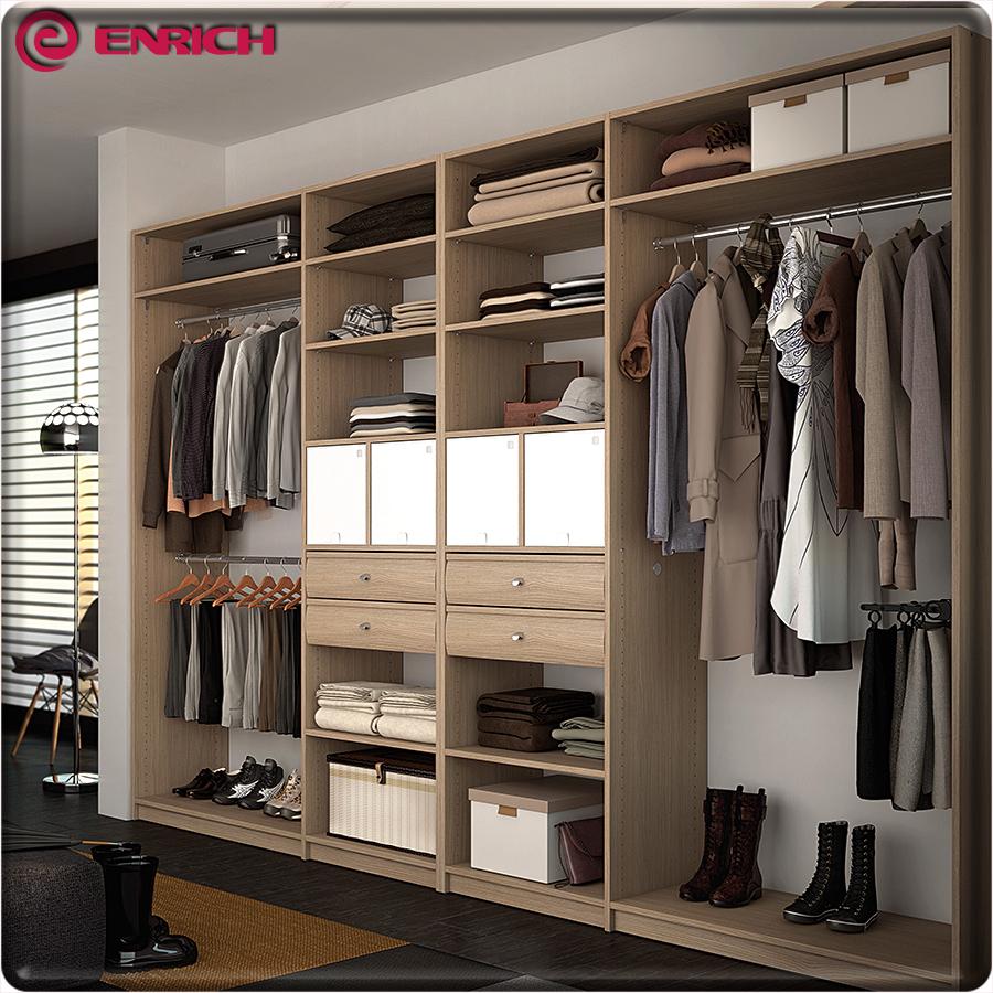 Aluminum Pole System Wooden Wardrobe Cabinet Closet Sliding Doors