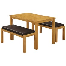 Solid Rubberwood & Brown PU Leather Dining Table and Chair Set with 2 Benches