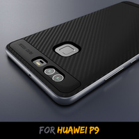 Hotseller TPU PC 2 In 1 Hybrid Carbon Fiber Pattern Protective Back Cover Shell for Huawei P9 Case