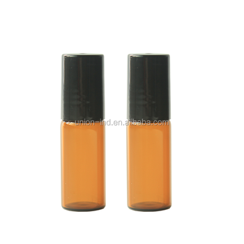 3ml 5ml refillable amber glass roll on perfume bottle with stainless steel roller ball