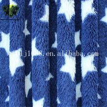 Blue Color Printed White Star Cloth Microfiber 100% Polyester Fabric Used For Blanket And Garment Made In China