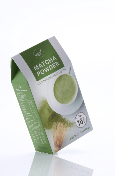 Bittersweet aromatic green tea powder in fractional package