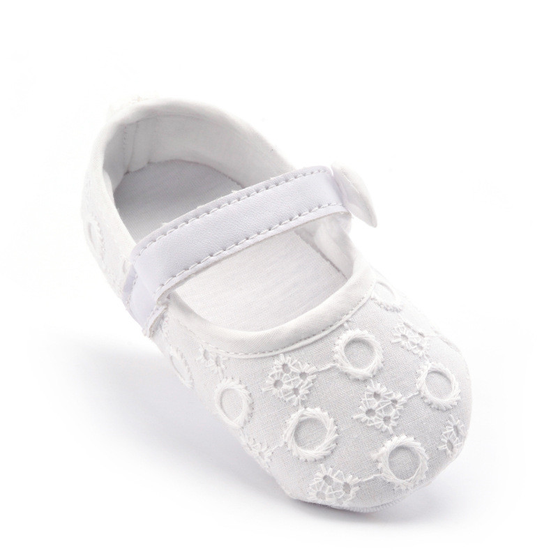S31372W High Quality Soft Sole T straps White Crochet Infant Shoes