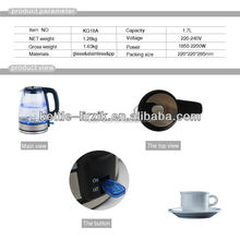 New design 1.7L heat resistant glass kettle,glass water kettle,blue led glass kettle