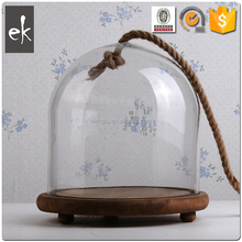 China Manufacturer Clear dome glass jar with lid and rope on top and wood base