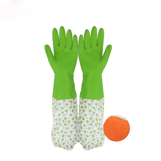 Dish Washing Cleaning Long Warm Gloves Household Kitchen Cotton Lined Rubber Gloves