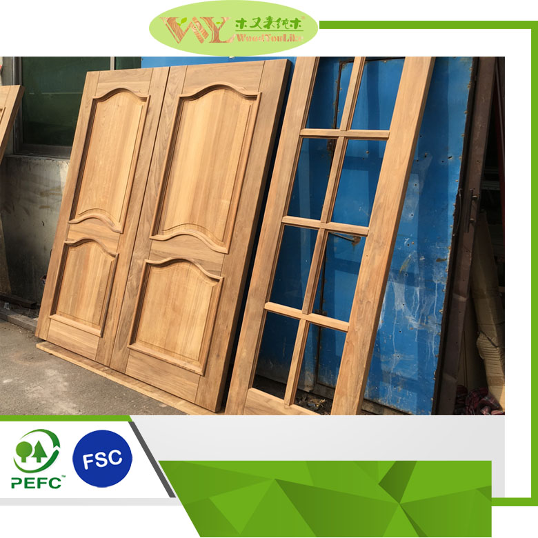 Hot Sale Customized Solid Teak Wood Door Modern Teak Door Designs