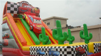 Double Lane Colorful Inflatable Slide / Giant Car Inflatable Slide For Kids