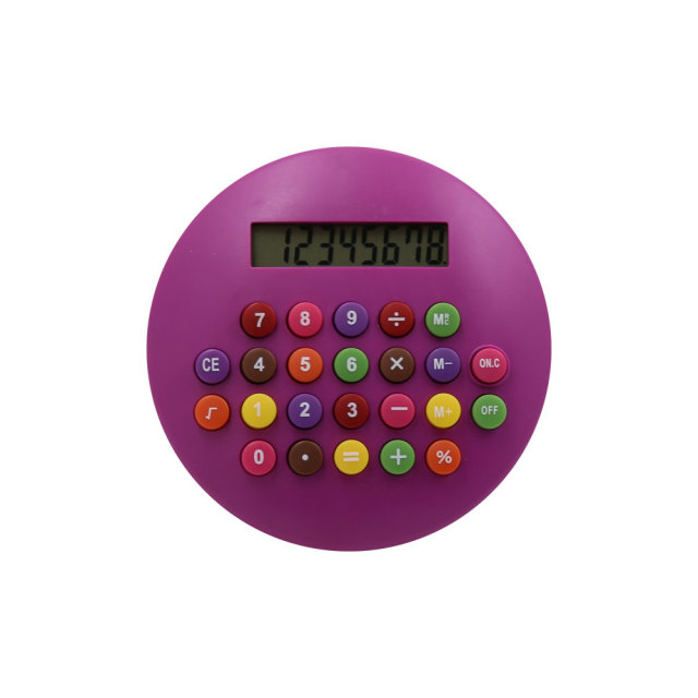 Children Lovely 8 Digit Electronic Round Shape Calculator with Color Button